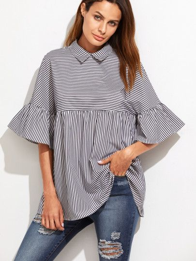 Black And White Striped Ruffle Sleeve Babydoll Top