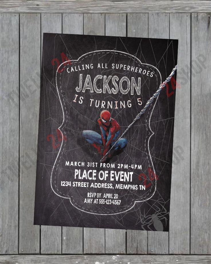 free printable funny0th birthday invitations%0A The Amazing Spiderman Chalkboard Birthday Invitation Card SpiderMan  Birthday Invitaiton by SammourDesigns on Etsy
