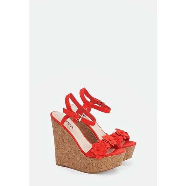 Justfab Wedges Averie (€35) ❤ liked on Polyvore featuring shoes, sandals, red, wedges shoes, wrap sandals, red shoes, platform wedge sandals and red sandals