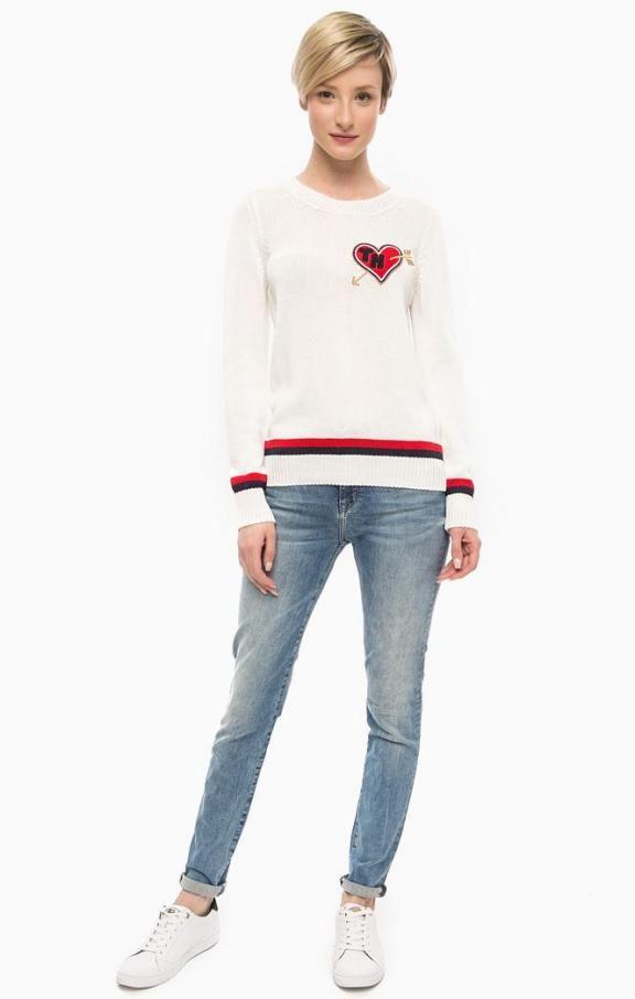 Хлопковый свитер с нашивкой WW0WW17617 118 snow white , купить в интернет-магазине. Цена: 14990