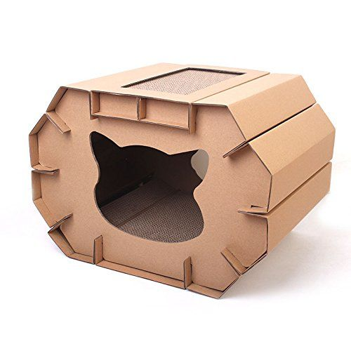 Yusenpet Corrugated Cardboard Small and Medium Cat House, DIY Assembled Sturdy Cardboard Kitten House with 3 Scratchers at the Bottom