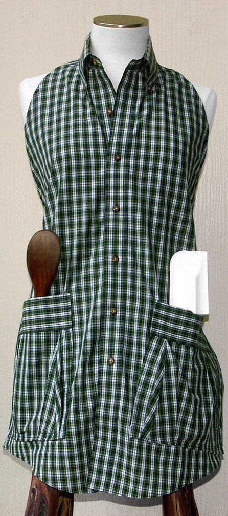 Upcycled Men's Shirt Apron for Women or Men