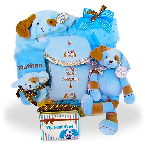 Blue and Brown Personalized Puppy Pack Price: $199.00 #GiftBaskets4Baby #Personalized #Boy #Boys #gifts #giftbaskets #Baby For more information visit: www.GiftBaskets4Baby.com