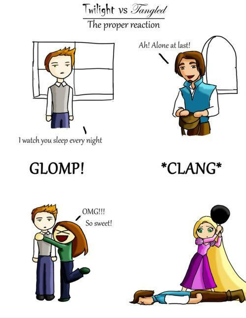 twilight-vs-tangled  Oh so true!: Proper Reactions, Fries Pan, Laughing, Tangled, Twilight, So True, Funny Stuff, Movie, Humor