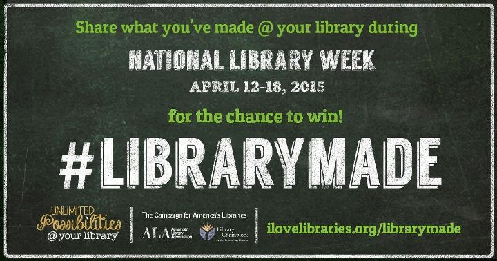National Library Week April 12-18, 2015  ALA has compiled a list of Celebration Weeks and Promotional Events for libraries