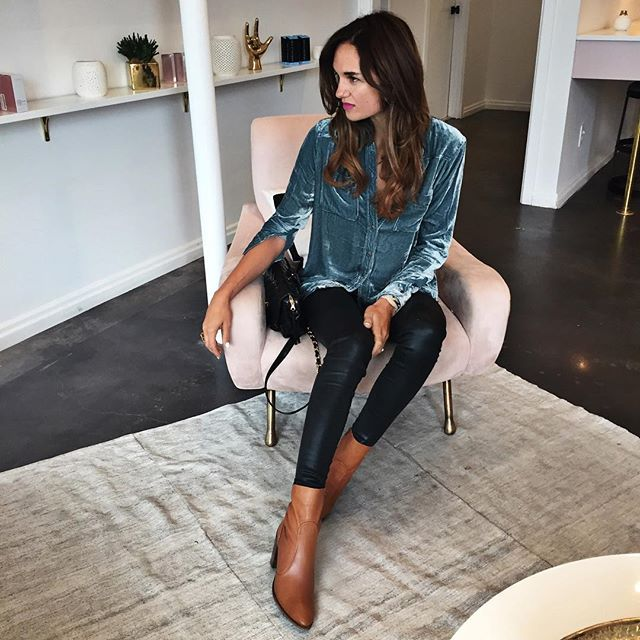 velvet and coated jeans