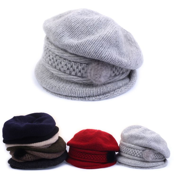 Womens Ladies Knitwear Rabbit Flower Beret French Artist Beanie Warm Solid Hat #hellobincom #RabbitFlowerKnitwearBeret
