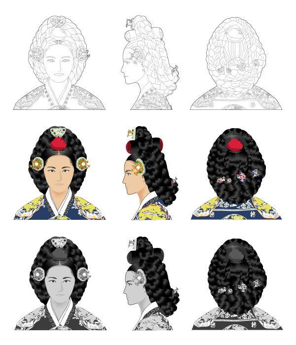 어여머리 Eoyeo meori The hairstyle for the female members of the royal family who were staying inside the palace after the marriage such as the queens consort and queens dowager. It involved several important parts: the wig to make the halo around the head of the wearer, som jokduri as a headrest, maegae daenggi to hold the wig in place, and tteoljam to adorn the wig.