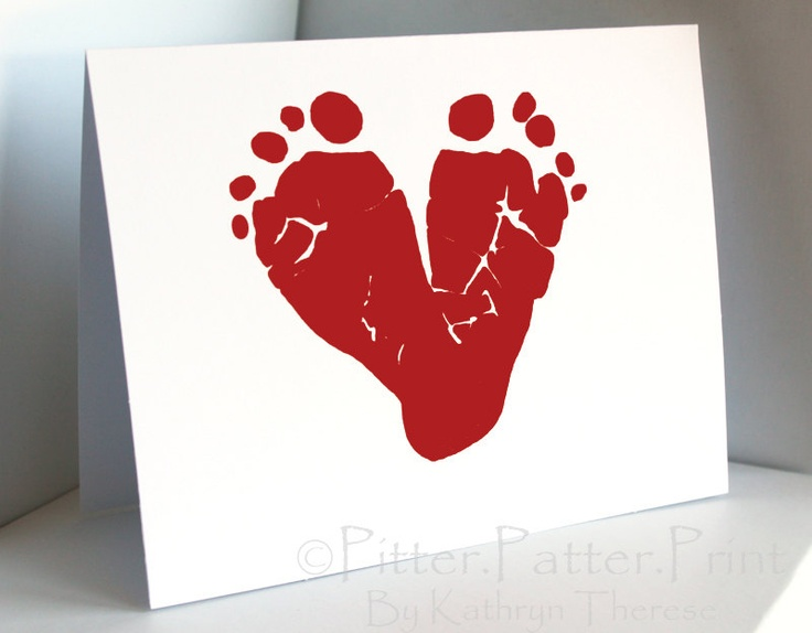 Valentines Day Card Baby Footprint Art Red Heart Card
