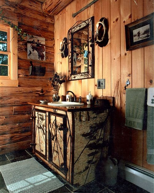 419 best images about bathrooms rustic on pinterest for Adirondack bathroom ideas