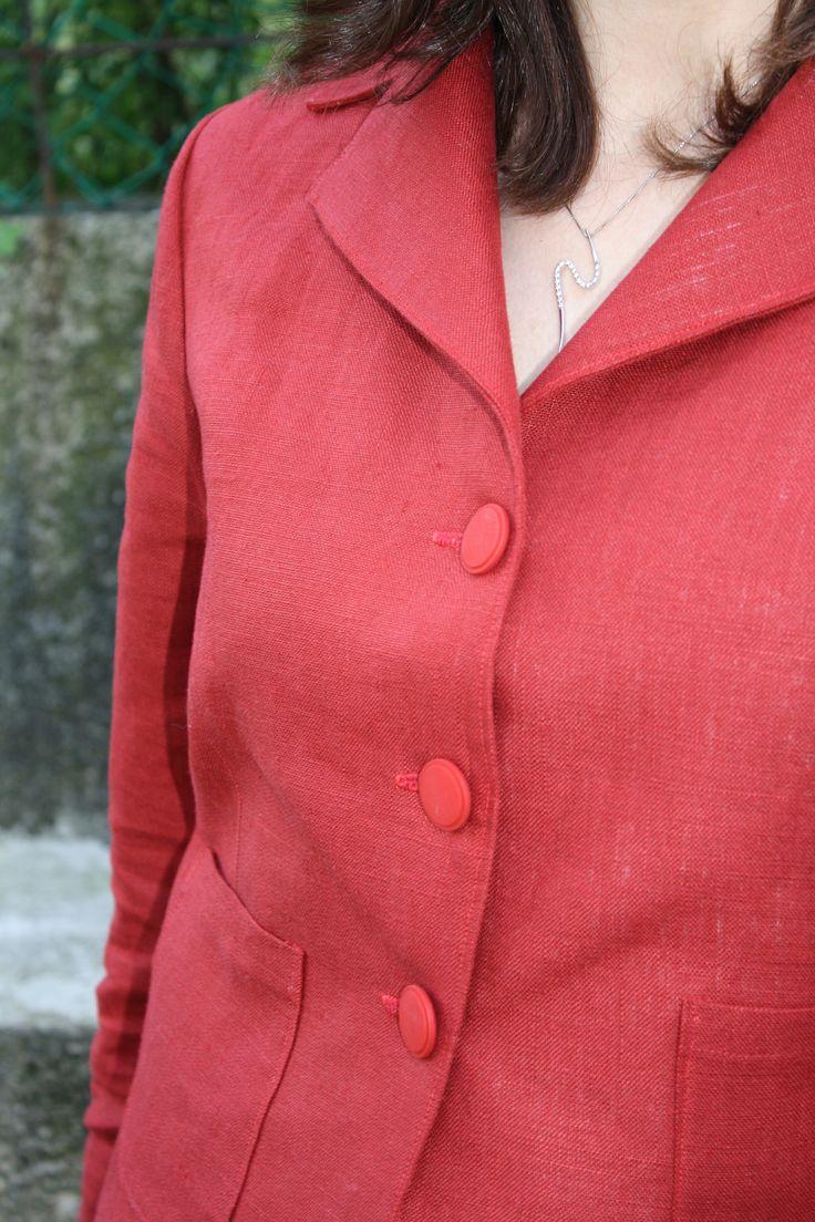 Giacca di lino rossa