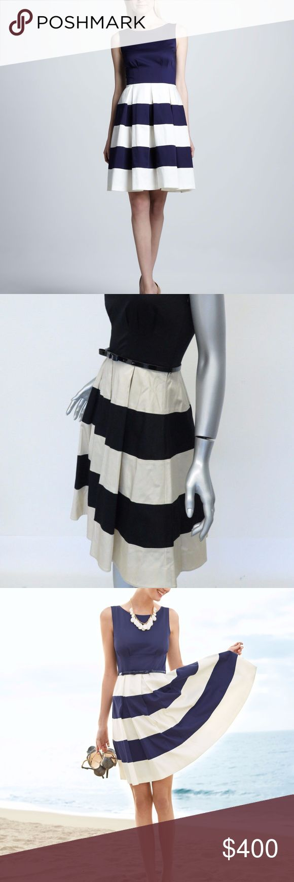 """kate spade new york celina stripe-skirt dress Brand new with tags from Nordstrom - http://www.neimanmarcus.com/kate-spade-new-york-celina-stripe-skirt-dress-french-navy/prod155210069/p.prod  kate spade new york dress does the pairing for you with a solid top and a flattering A-line skirt with bold stripes stripes and box pleats. Solid top with striped skirt. Bateau neckline with scoop back; sleeveless. Patent leather belt. Pleated, A-line skirt. Approx. 38""""L from shoulder to hem…"""