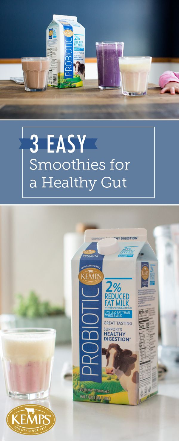 Smoothies always make great go-to breakfasts and post-workout snacks, but they're even better with added nutritional benefits. So, have your favorite drink do the work for you with these 3 Easy Smoothies for a Healthy Gut. Made with Kemps® Probiotic Milk, each one of these tasty combinations—Blueberry Tummy Tamer, Mango Sunrise, and Dark Chocolate Breakfast Milkshake—is sure to be a delicious addition to your weekly routine.