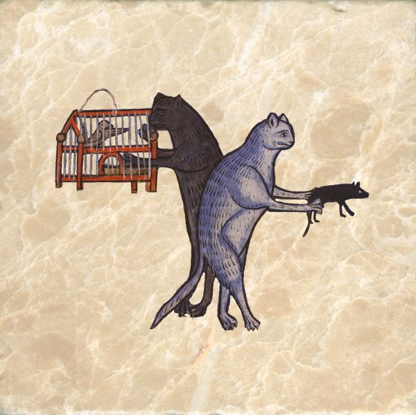 Cats in the Middle Ages with birdcage, 13th century Bestiary, England.