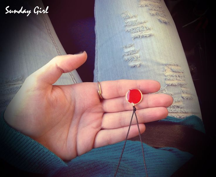 Red brass handmade necklace