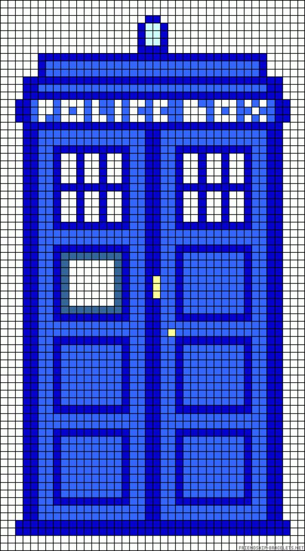 tardis perler bead pattern, can also be used for cross stitch, knitting etc.