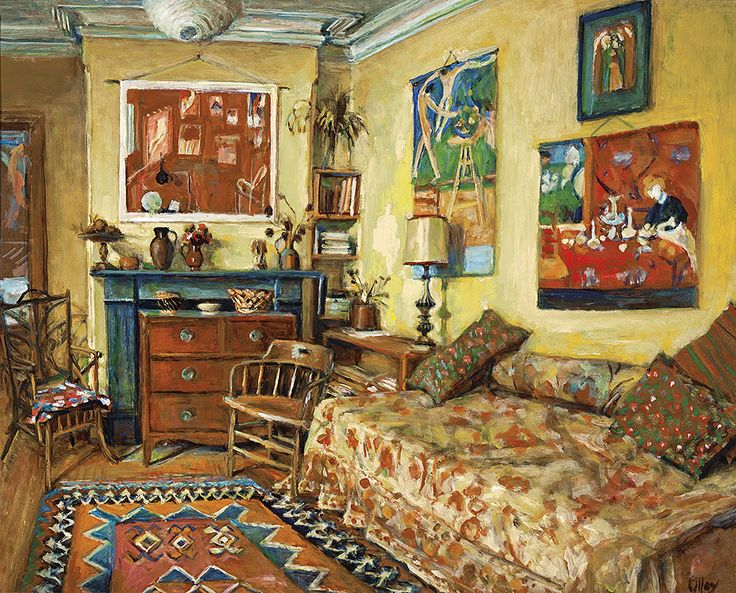 """The Yellow Room"" Oil on Board c1991 - Margaret Olley"