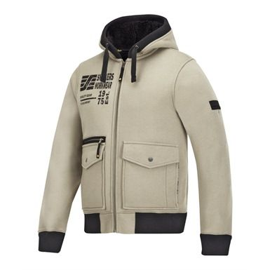 This very stylish Snickers branded sweatshirt Jacket is a pile fleece lined polycotton garment that provides exceptional warmth and working comfort. It features a sturdy full length YKK zipper, a good selection of  pockets and elastic ribbed hem and cuffs.