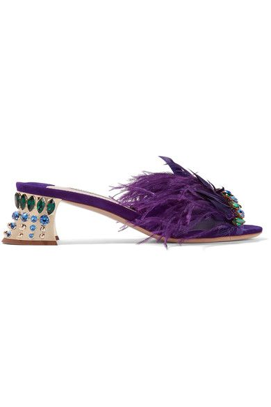 Miu Miu - Crystal And Feather-embellished Suede Mules - Purple - IT41