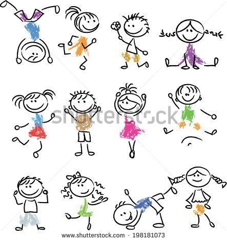 Cute happy cartoon doodle kids