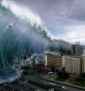 A giant wave, formed from an earthquake, covered parts of the Japanese coast in March 2011.