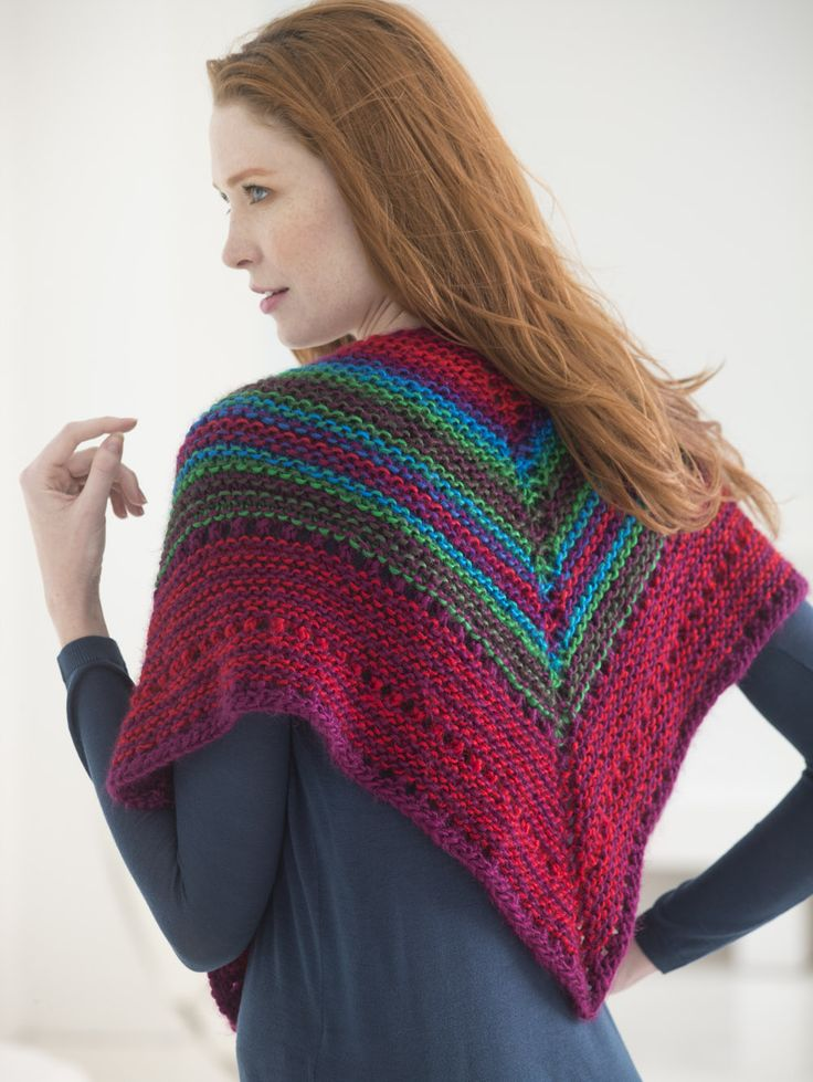 Knit this gorgeous wrap with Lion Brand Landscapes! Free pattern calls for 3 balls of yarn (Apple Orchard, Bordeaux, and Ruby pictured) and size 10.5 (6.5 mm) 29 inch circular knitting needles.