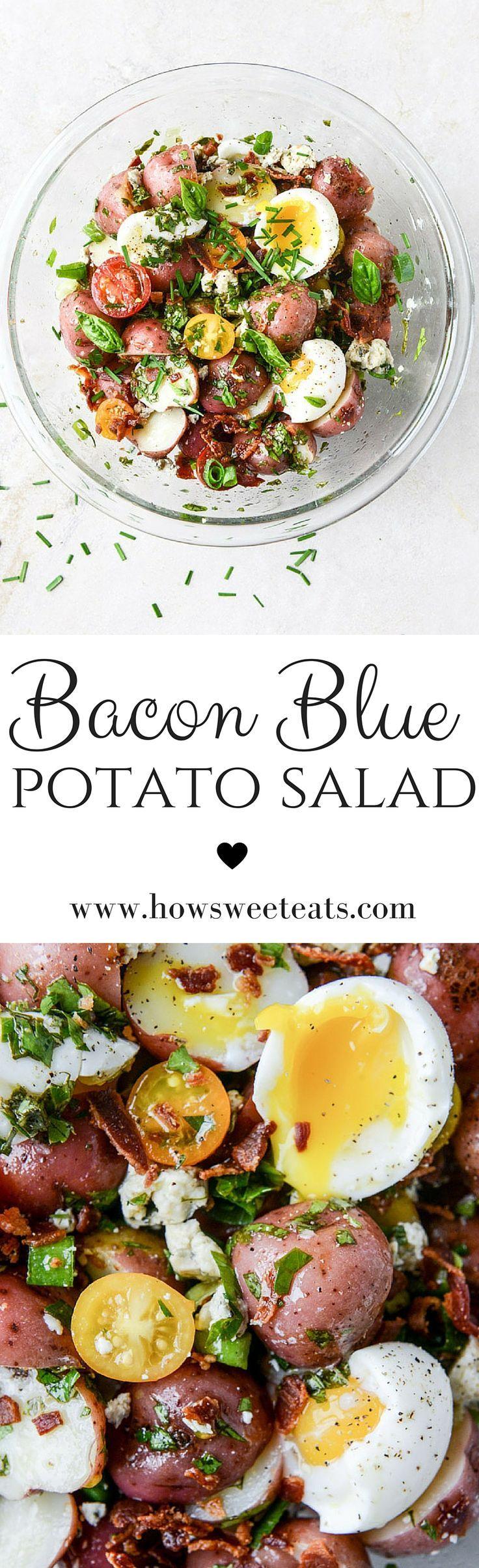 bacon blue potato salad with soft boiled eggs I howsweeteats.com