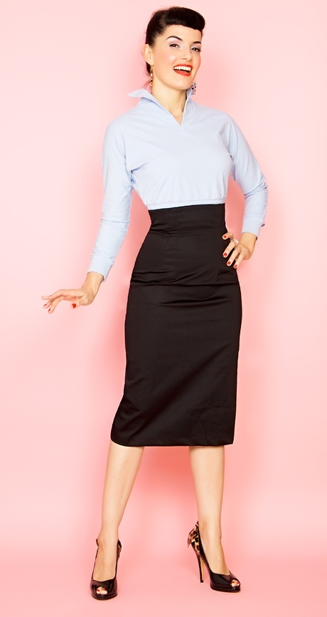 Rockabilly Girl by Bernie Dexter**50s Style Siren Black Stretch High Waisted Pencil Skirt