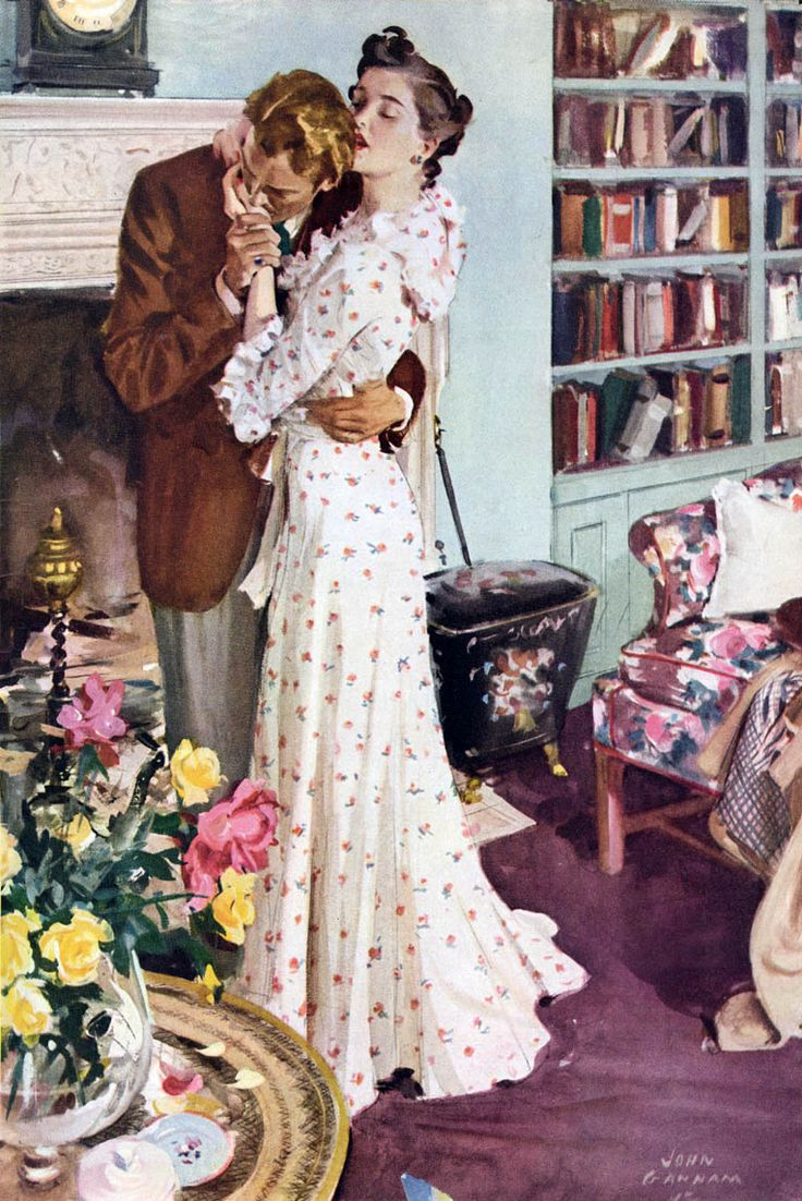 Books and Art: Our life as one has just begun. Stage one of our library is complete. Vintage illustration by John Gannam.