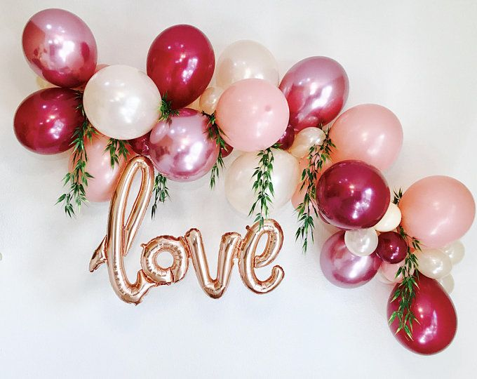 Balloon Garland, DIY Balloon Garland, Blush Rose Gold Forest Green, Winter Wedding, Winter Balloons, Green and Rose Gold Wedding, Forest Green