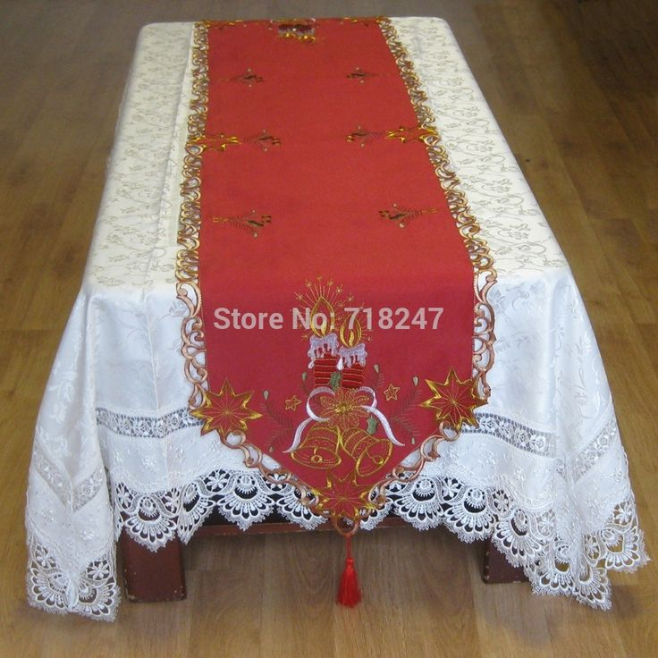 New For 2014 Christmas Red Satin Embroidery Xmas Table Runner Candle Bell  Table Linen Cloth Cover Holiday Tablecloth