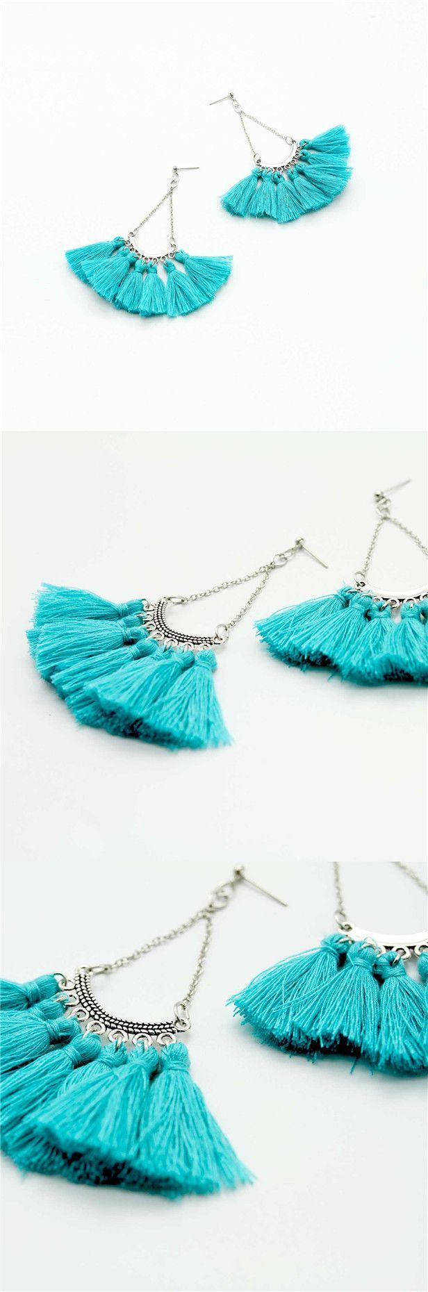bohemian tassel earring teal fringe earrings stud handmade jewelry dangle earrings