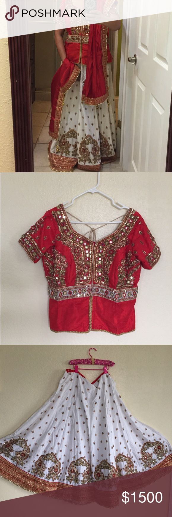 Indian Bridal Dress Brand new MUST GO pls try to share  Very Beautiful dress with white and red color come with blouse and dupatt. Very heavy and sparkly. Blouse size L but you can do M or S and fit to 5.1 to 5'3 Dresses Wedding