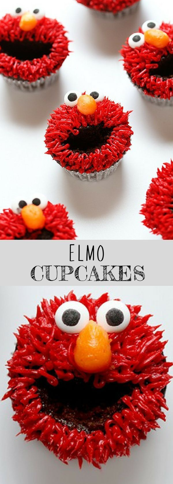 ELMO CUPCAKES | Get creative with delicious cupcake recipe- Elmo Cupcakes! All you need are some easy piping techniques, your favorite chocolate cake recipe and crusting buttercream recipe... For more simple and easy dessert recipes to make, check us out at #iambaker. #foodlover #desserts #yummydesserts #recipeoftheday #cupcakes #sweettooth #creative