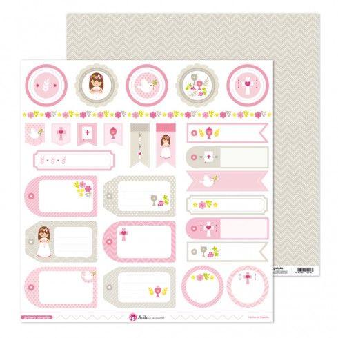 Kit de Scrapbooking + complementos Primera comunión niña 30x30 Anita y su mundo