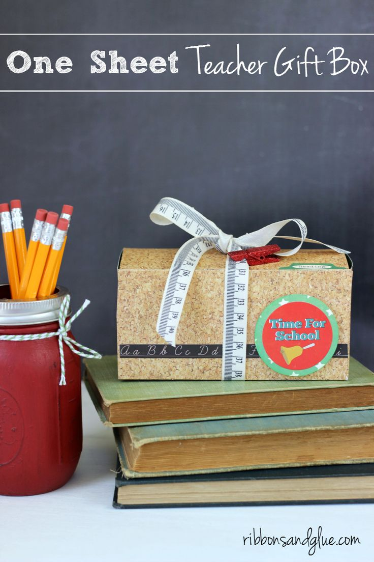 Show your Teacher Appreciation by making this simple Teacher Gift Box.   All you need to make this box is one sheet of 12 x 12 scrapbooking paper then decorate it any way you like.