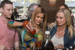 RHOM Pettifleur mixing her Bloody Mary at the Left Bank Bloody Mary Bar