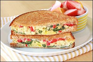 Hungry Girl recipe swap for IHOP's Spinach, Roasted Red Pepper & Cheese Griddle Melt. PIN!