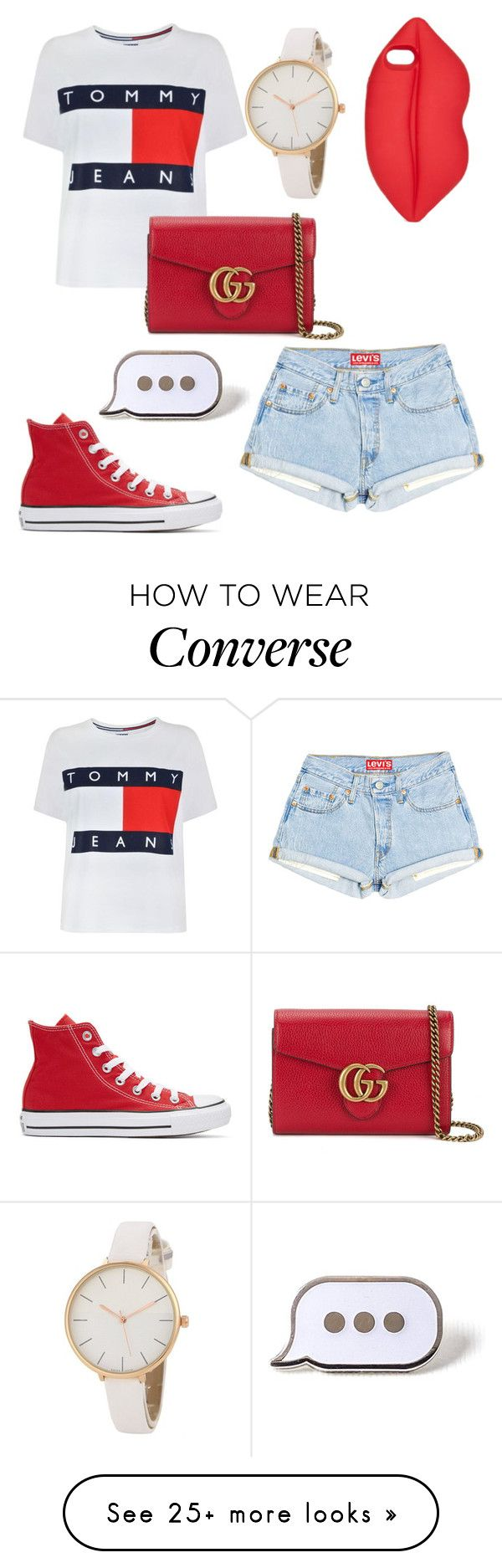 """"""""""" by julietpenrose on Polyvore featuring Tommy Hilfiger, Lulu Guinness, Converse, Gucci and PINTRILL"""