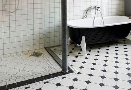 Black And White Tile Floor Bathroom Design I Like It On A Diagonal For The Home Pinterest Tiles