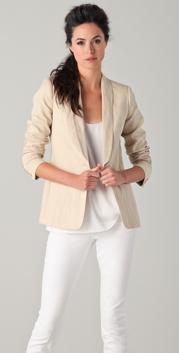 Casual Friday perfection: Vince Single Button linen jacket, silk tank, and ankle skinny jeans