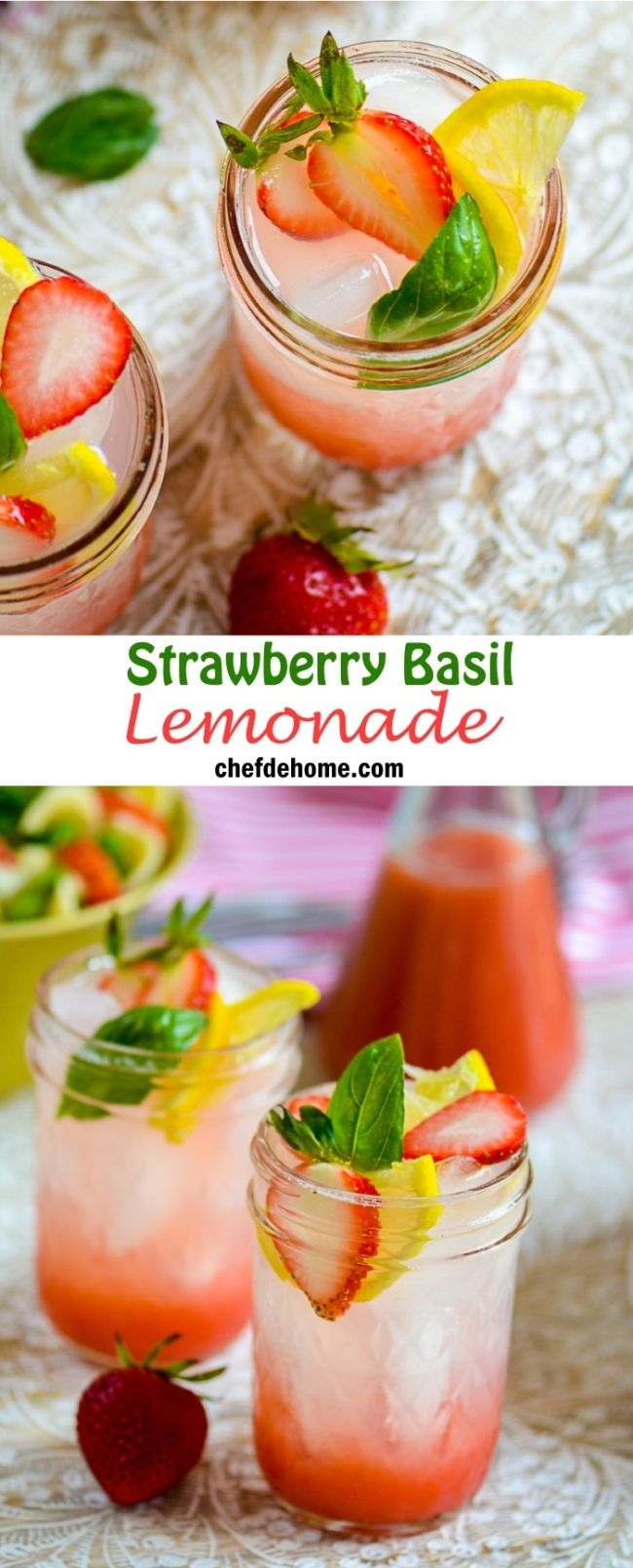 Strawberry Basil Lemonade ~ This easy, refreshing pink lemonade will be the favorite at your next summer party! With just 4 basic ingredients! And, it makes a lot of concentrate, which you make once and use many times! ~ from chefdehome.com