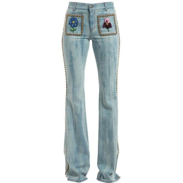 Gucci Women Studded & Embroidered Flair Denim Jeans ($1,830) ❤ liked on Polyvore featuring jeans, blue, embroidered jeans, studded jeans, gucci jeans, gucci and embroidery jeans