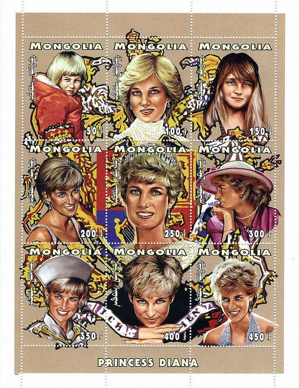 Princess Diana Postal Commemorative Sheet Issued By Mongolia, Diana - Princess Of Wales 1961 - 1997.