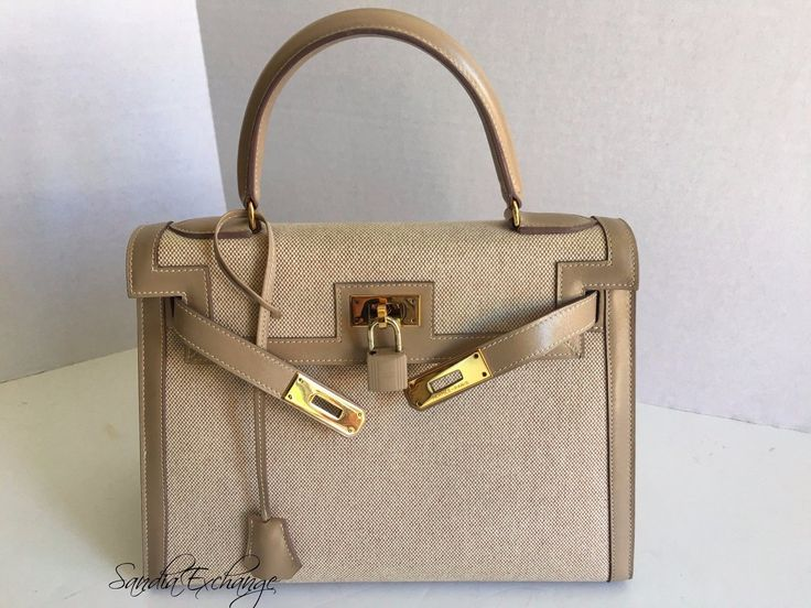 Authentic HERMES Kelly 28 cm Sellier Toile Box Nepal Gold Hardware HERMÈS RARE