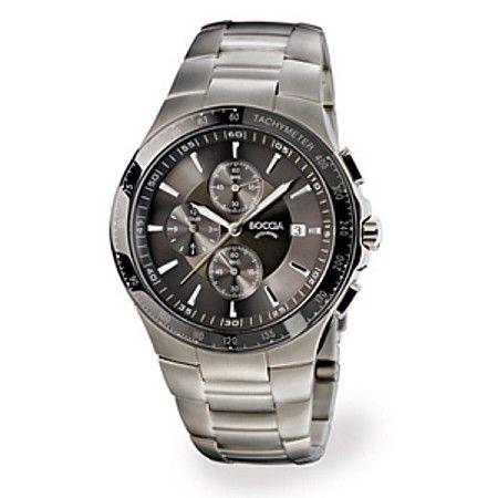 Boccia Titanium Chronograph Charcoal Face Watch - 3773-01
