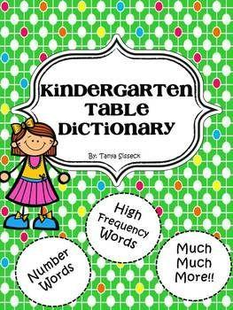 Kindergarten Table Dictionary