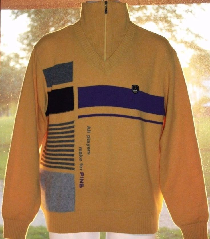 PING Vintage Mustard Yellow Wool Long Sleeve LINED Golf Sweater 1/4 Zip 1995 AH #Ping #PullOver