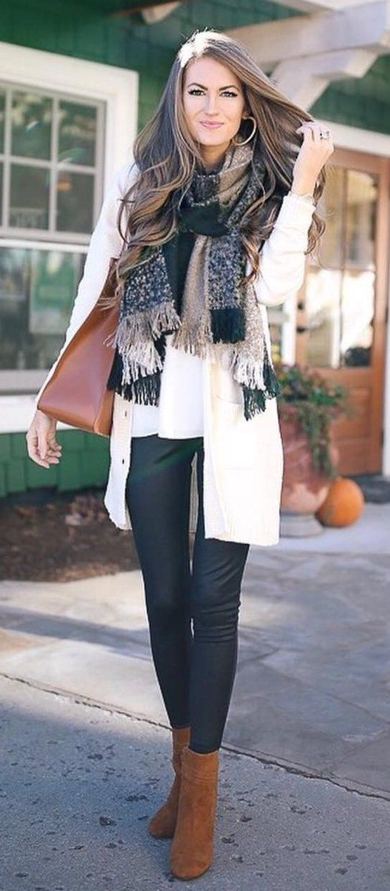 #winter #fashion / Printed Scarf // White Cardigan // Black Skinny Jeans // Camel Booties // White Top