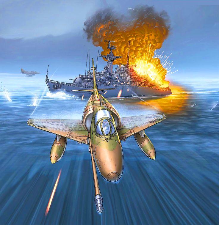 Argentinian jet fighter bombing British fleet, Falklands War